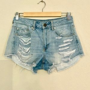 American Eagle High Waisted Destructed Jean Shorts